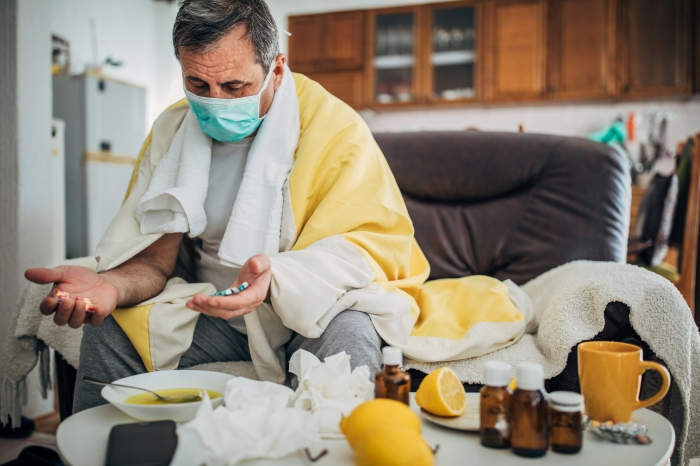 Senior man sick with corona virus